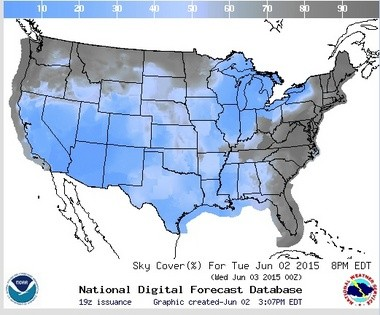 The sky cover forecast for Tuesday night at 7 p.m. CDT. (National Weather Service)