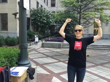 Eva Walton Kendrick, faith organizer with the Human Rights Campaign, celebrates the supreme court's decision to make same sex marriage legal. (Justin Yurkanin)