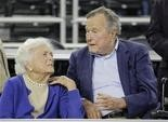 This March 29, 2015, file photo shows former President George H.W. Bush and his wife Barbara Bush. Bush fell at his home in Kennebunkport, Maine, Wednesday, and broke a bone in his neck. (AP Photo/David J. Phillip, File)