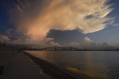 The sun sets over the Mississippi River in Baton Rouge, Louisiana. (Shawn Weismiller)