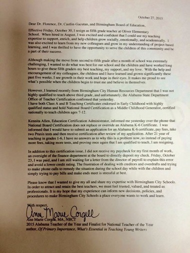 2014-2015 Teacher of the Year Ann Marie Corgill submitted this letter of resignation to Birmingham City Schools officials.