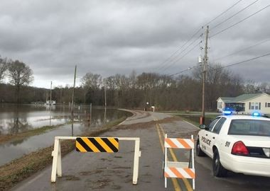 Hobbs Island Road at Oak Grove and Hill Road remain closed due to flooding, according to the Huntsville/Madison County Emergency Management Agency. (Contributed photo/Huntsville Madison County EMA)