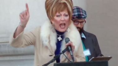 Ambrosia Starling speaking at an anti-Roy Moore rally. (Contributed photo/YouTube)