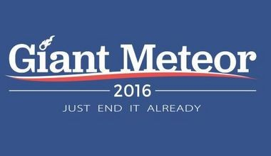 The Giant Meteor 2016 is polling fairly well against presidential candidates Hillary Clinton and Donald Trump.
