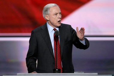 Sen. Jeff Sessions at the Republican National Convention ahead of Donald Trump's nomination.