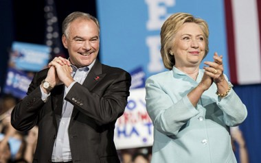 Hillary Clinton, shown here with former running mate Tim Kaine, was the first woman in U.S. history to be nominated for president by a major political party. (Washington Post photo by Melina Mara)