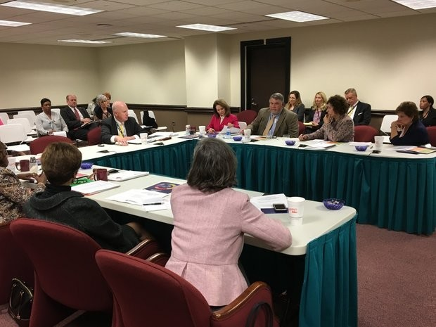 Alabama state superintendent Michael Sentance and board members at work session, Feb. 9, 2017.