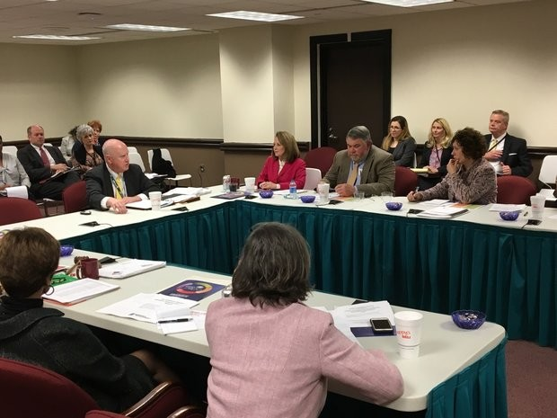 Alabama superintendent Michael Sentance addresses state board of education members at the Feb. 9 work session.