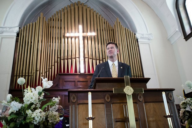 """Alabama Secretary of State John Merrill speaks during a service at Brown Chapel African Methodist Episcopal Church in Selma, Ala., Sunday, March 5, 2017. Sunday marked the 52nd anniversary of the march across the Edmund Pettus Bridge over the Alabama River in Selma. On March 7, 1965, African-Americans seeking voting rights launched a march across the bridge en route to Montgomery but were attacked by police. That violent episode became known as """"Bloody Sunday."""" (Albert Cesare/The Montgomery Advertiser via AP)"""