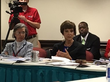 State board of education members Jackie Zeigler, R-Mobile, and Dr. Cynthia McCarty, R-Jacksonville.