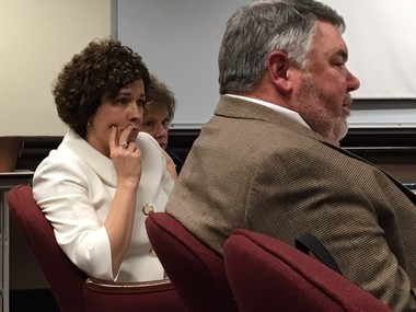 State board members Mary Scott Hunter, R-Huntsville, and Jeff Newman, R-Millport at March 8, 2017, work session.