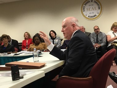 Alabama superintendent Michael Sentance at state board of education work session, March 8, 2017.
