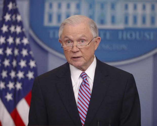 In this March 27, 2017 file photo, Attorney General Jeff Sessions speaks to the media during the daily briefing in the Brady Press Briefing Room of the White House in Washington.