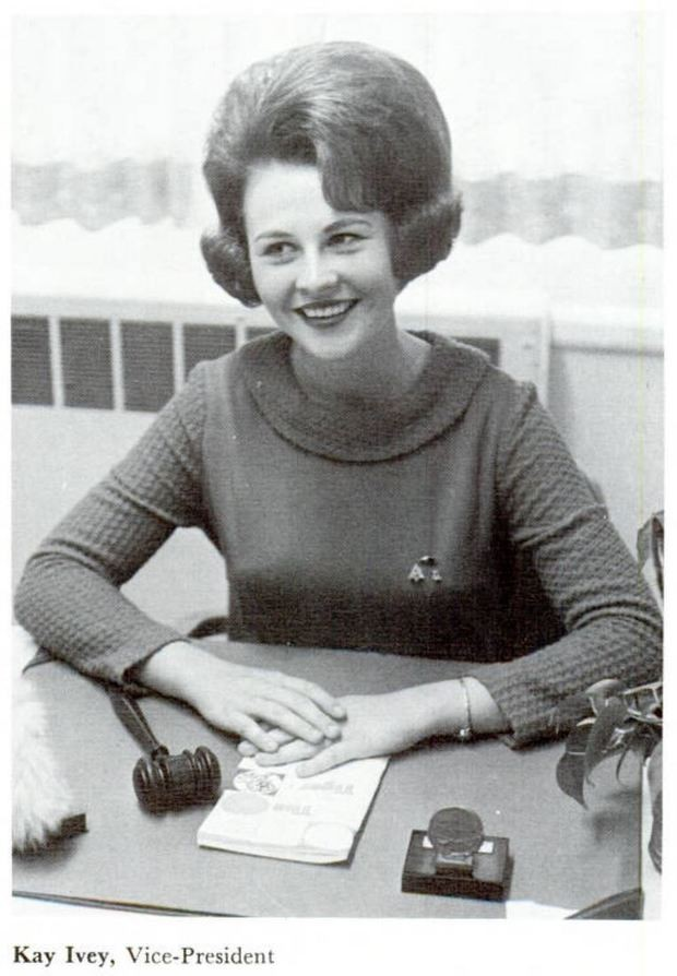 Kay Ivey was elected the first woman Student Government Association Vice President at Auburn University. She's shown here in a photo from the 1967 Glomerata, Auburn's yearbook. (Auburn University Digital Library)