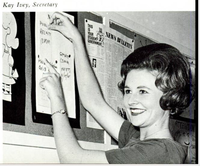 Kay Ivey was elected Student Government Association Secretary her junior year at Auburn University. She is pictured here in a photo taken from the 1966 Glomerata, Auburn's yearbook. (Auburn Digital Libraries)
