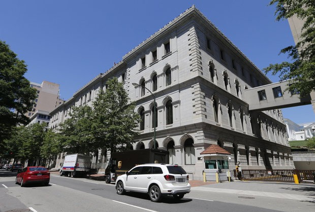 The US 4th Circuit court of Appeals building will be the site of a full 15-member court hearing next week on President Donald Trump's revised travel ban targeting six Muslim-majority countries in Richmond, Va., Tuesday, May 2, 2017.