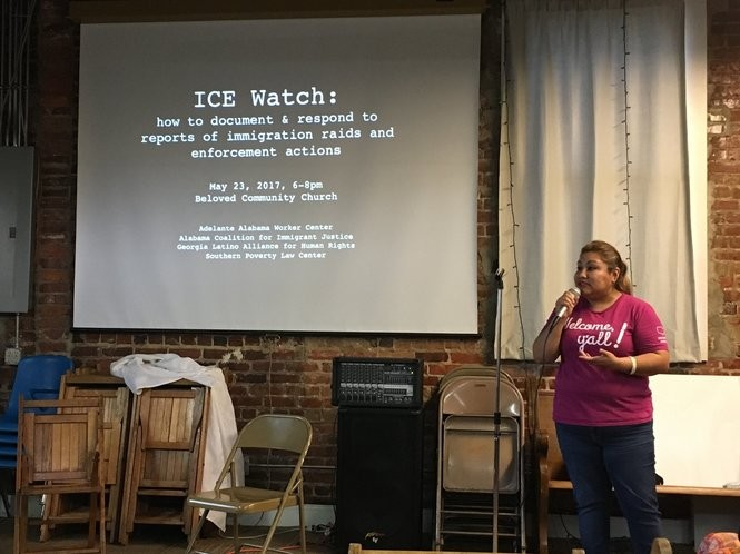Evelyn Servin, an organizer with the Alabama Coalition for Immigrant Justice, speaks during the ICE Watch event Tuesday in Birmingham. (Connor Sheets | csheets@al.com)