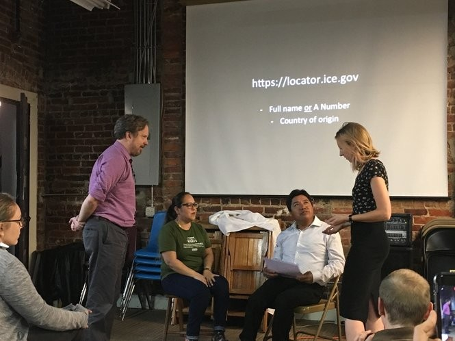 The ICE Watch event featured an educational role-playing segment, in which mock interactions between immigration enforcement agents, undocumented immigrants, neighbors and advocates were performed and analyzed. (Connor Sheets | csheets@al.com)