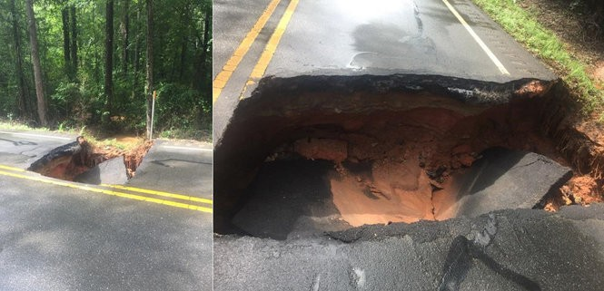 Alabama 63 is washed out in Talapoosa County near Goodwater Road, the sheriff's office reports.