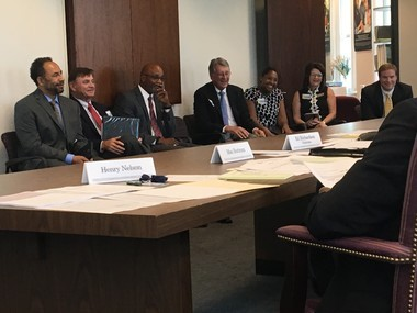 Representatives of University Charter School speak to the Alabama Public Charter School Commission at their June 27, 2017, meeting.