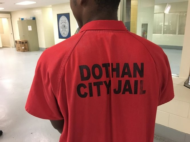 Dothan City Jail inmate Spencer Trawick stands inside the jail Monday afternoon.