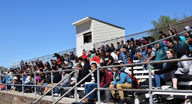 Crossville High School students and families watch a soccer match between Crossville and nearby Collinsville in April 2017. (Anna Claire Vollers | avollers@AL.com)