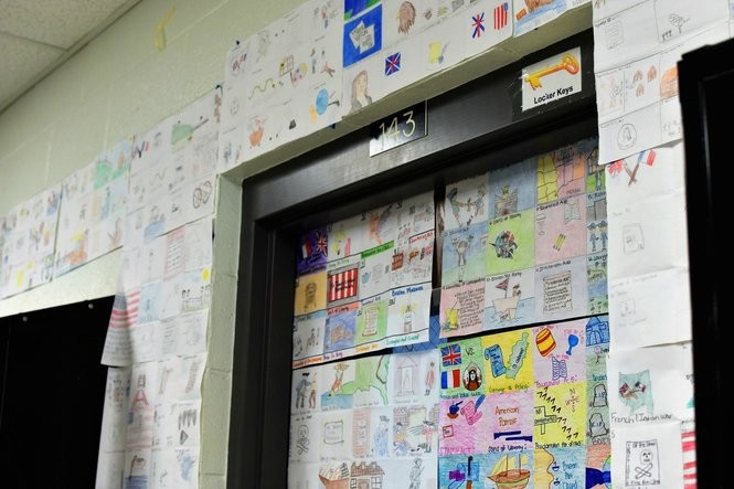 Student projects are on display outside a classroom at Crossville High School. (Anna Claire Vollers | Avollers@AL.com)