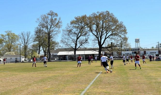 The Crossville High boys' varsity soccer team plays the Collinsville High boys' team in April 2017 on the field at Crossville High School. (Anna Claire Vollers | avollers@AL.com)