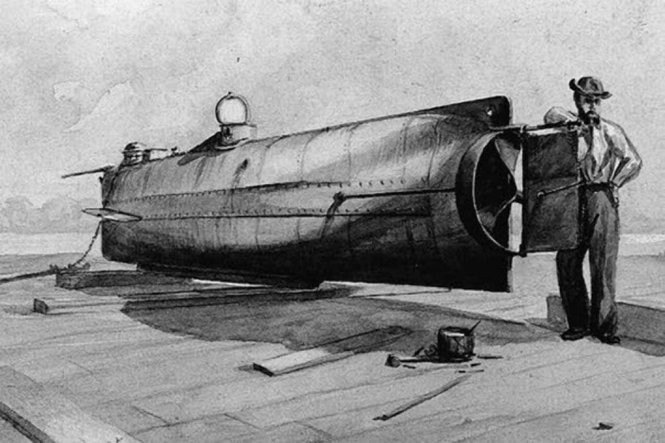 The Confederate Submarine H.L. Hunley (1863-1864). MUST CREDIT: U.S. Naval Historical Center Photograph-Navy Art Collection.