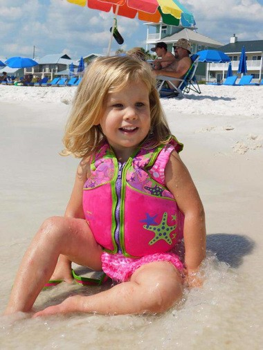 Sadie Grace Andrews is pictured on a beach trip with her family. The 3-year-old died in a tragic accident outside an Auburn ice cream shop Saturday, Oct. 14, 2017 (Family photo)