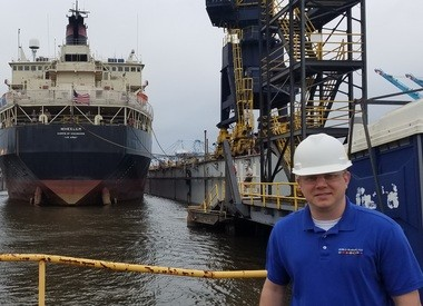 """Ryan Roth, vice president of sales and marketing for World Marine of Alabama, says the company has """"a long, rich history"""" with the Wheeler, the U.S. Army Corps of Engineers dredge seen at left. (Lawrence Specker/LSpecker@AL.com)"""