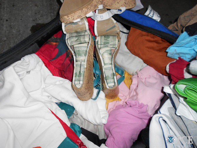 In 2013, Alabama's 17th Judicial Circuit Drug Task Force seized $386,900 in cash, much of which was hidden inside women's shoes. (Courtesy U.S. Immigration and Customs Enforcement)