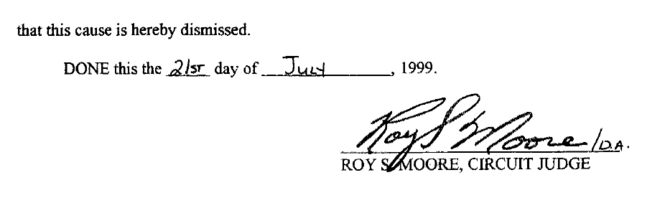 Moore's signature on divorce documents provided by the candidate's attorney.