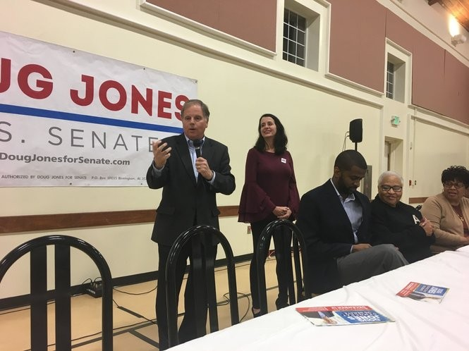 U.S. Senate candidate Doug Jones speaks at the Maggie Street Baptist Church in Montgomery on Dec. 1.