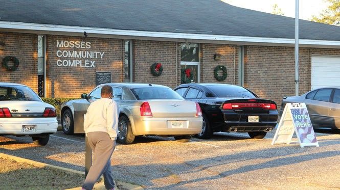 Voters head to the polls in the small Lowndes County town of Mosses. (Connor Sheets | csheets@al.com)