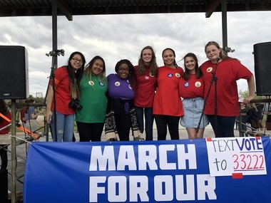 Some of the student organizers of Birmingham's March for Our Lives held March 24, 2018, in Railroad Park.