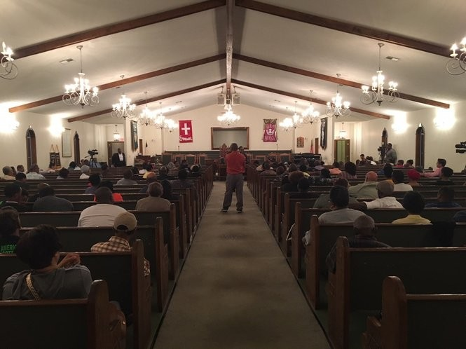 Around 150 people came to the cedar street church in Saraland for an NAACP townhall meeting about the arrest Chikesia Clemons at a Waffle House Sunday.