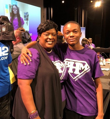 Birmingham City Schools Superintendent Lisa Herring and Wenonah sophomore Justin Smith after the #NeverAgainBHM town hall at Parker High School on April 26, 2018.