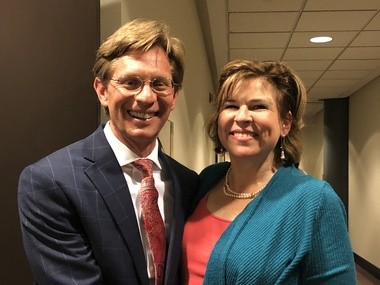Eric Mackey with his wife, Robin, after being named Alabama's newest state superintendent on April 20, 2018, in Montgomery, Ala.