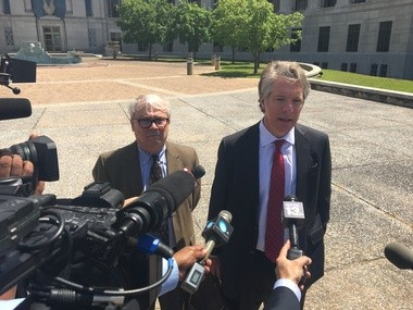 Rep. Jack Williams, R-Vestavia Hills, left, and his attorney, Jake Watson, speak to reporters after Williams entered a not guilty plea at the federal courthouse in Montgomery in April. (Mike Cason/mcason@al.com)