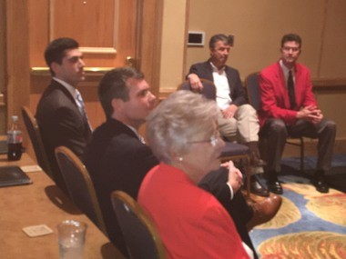 Republican Alabama Gov. Kay Ivey is seated to the immediate right of Tuscaloosa Mayor Walt Maddox, her Nov. 6 Democratic opponent, during a Monday, July 30, 2018, session hosted by the Alabama Sheriff's Association at the Perdido Beach Resort in Orange Beach, Ala. It was the first time the two were in the same venue since the June 5, 2018, primary. Also seated (from left to right) Joseph Siegelman, the Democratic hopeful for attorney general; Republican Alabama Attorney General Steve Marshall; and Republican Alabama Secretary of State John Merrill. (John Sharp/jsharp@al.com).