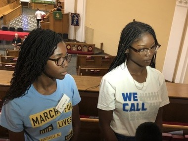 Bob Jones High School student Love Lundy (left) and Marjory Stoneman Douglas High School student Aalayah Eastmond speak with reporters prior to the March for Our Lives Road to Change town hall meeting in Birmingham, Ala.