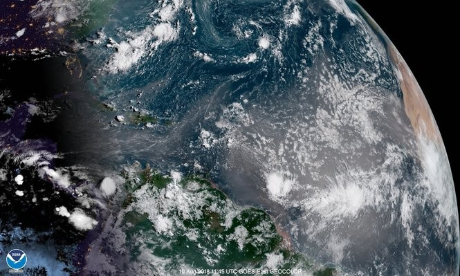 There's been a lot of Saharan dust over the tropical Atlantic this season and Friday is no exception. Some of that dust has recently made it as far west as Texas and Florida. (NOAA)
