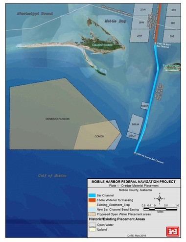 A Corps of Engineers graphic shows an expanded offshore dispersement area for dredge spoil, as well as sites designated as Sand Island Beneficial Use Area (SIBUA).Critics argue the placement squanders an opportunity to counteract beach erosion on Dauphin Island.