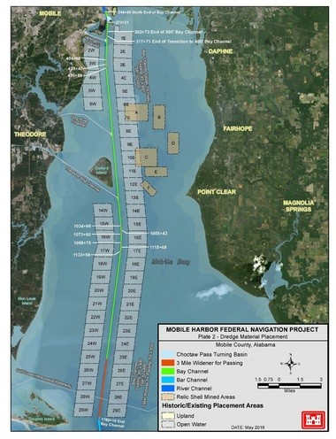 A Corps of Engineers graphics shows relic shell mining areas in the upper bay (marked in tan) that the Corps plans to use as disposal sites for dredge spoil.