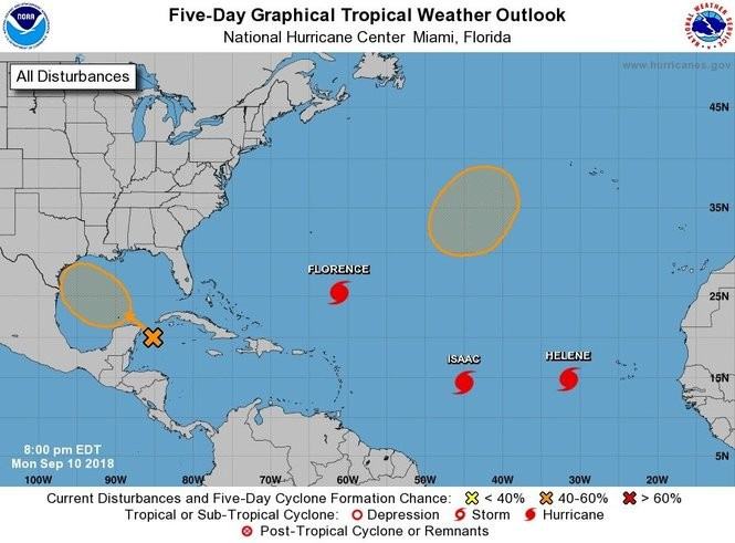 In addition to Hurricanes Florence, Helene and Isaac there are two tropical disturbances being monitored by the hurricane center. The one in the northwest Caribbean could become a tropical depression by Thursday or Friday. (NHC)