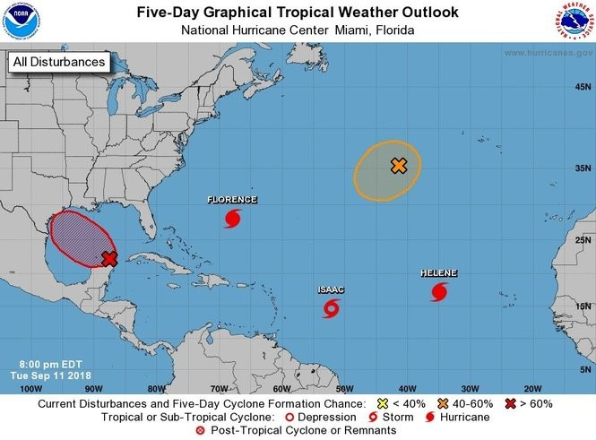 An area of disturbed weather could move into the Gulf and become a tropical depression by Thursday or Friday. (NHC)