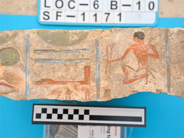 An inscribed Middle Kingdom block from the tomb of Intef in Lisht, Egypt. The tomb was one of 800 discovered by UAB archaeology professor Dr. Sarah Parcak. (Photo by Sarah Parcak, University of Alabama at Birmingham)