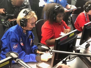 U.S. Education Secretary Betsy DeVos conducts a simulated space mission with students during a visit to Huntsville's Space and Rocket Center on Oct. 3, 2018.