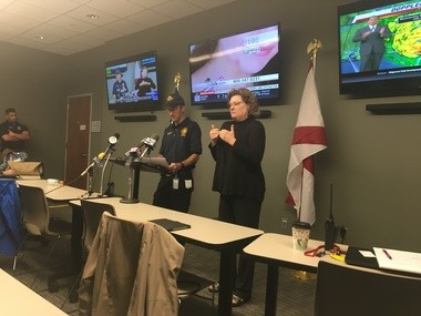 Dothan Deputy Fire Chief Chris Etheredge gives an update on the early effects of Hurricane Michael on Houston County. (Mike Cason/mcason@al.com)